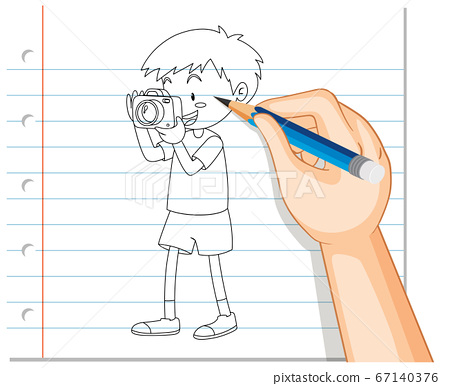 Hand drawing of boy taking photo outline 67140376