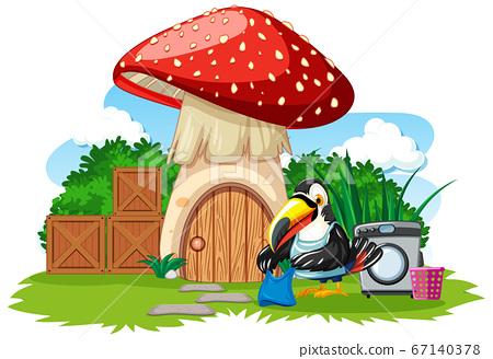 Mushroom house with cute bird cartoon style on 67140378