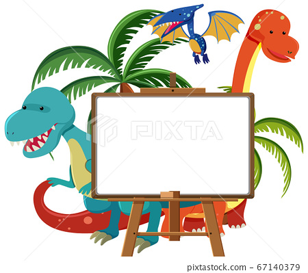 Set of cute dinosaurs with blank banner isolated 67140379