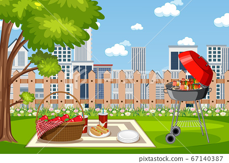 Background scene with BBQ in the park 67140387