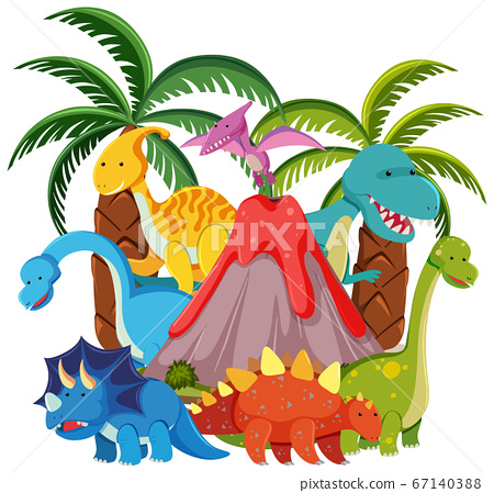 Cute dinosaurs with volcano eruption isolated on 67140388