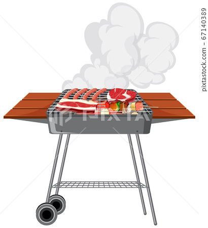 BBQ grill with food on white background 67140389