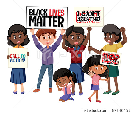 Anti-racism protesters on white background 67140457