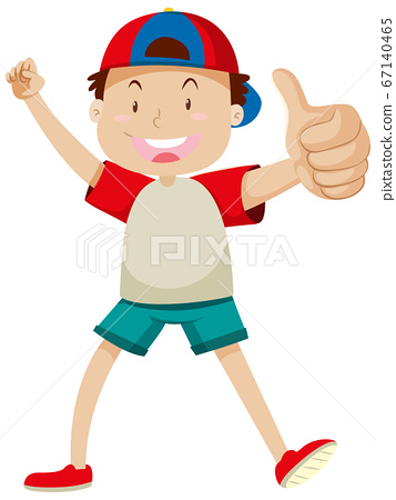 A boy with thumbs up posing in happy mood isolated 67140465