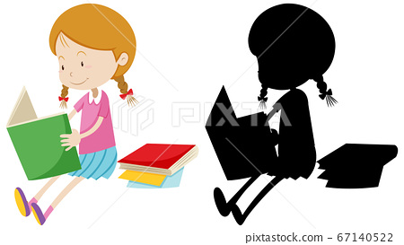Girl reading the book with its silhouette 67140522