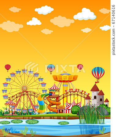 Amusement park with swamp scene at daytime with 67140616