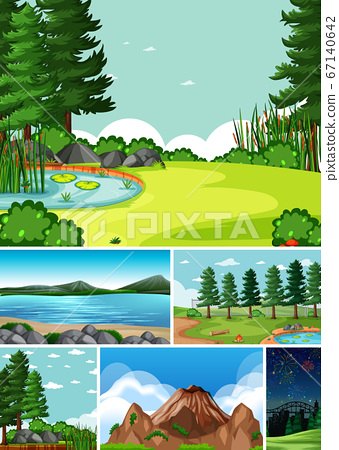Six different scenes in nature setting cartoon 67140642
