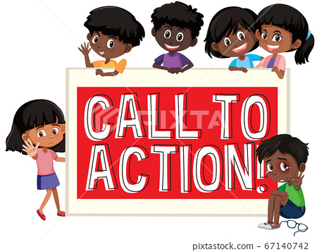 Children with font banner 67140742