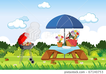 Scene with BBQ grill and food on the picnic table 67140753