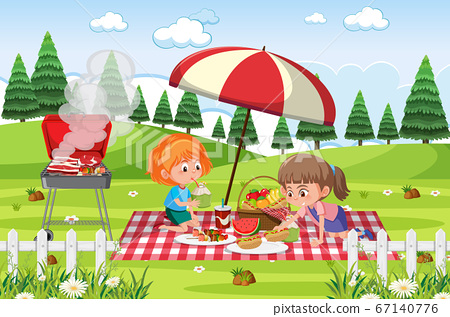 Scene with two girls eating in the park 67140776