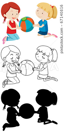 Two kids playing ball in color and in outline and 67140816