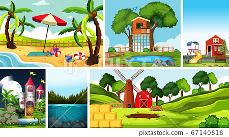 Six nature scenes with different locations 67140818