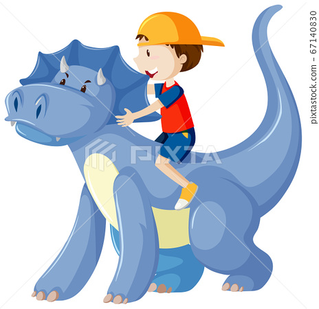 Boy riding on dinosaur cartoon character isolated 67140830