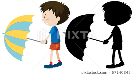 Boy holding umbrella in color and silhouette 67140843