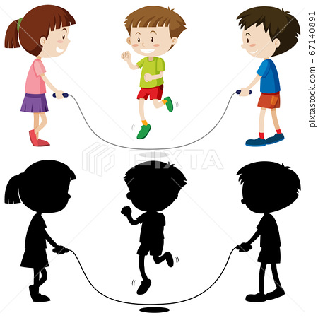 Three kids playing jump rope in color and in 67140891