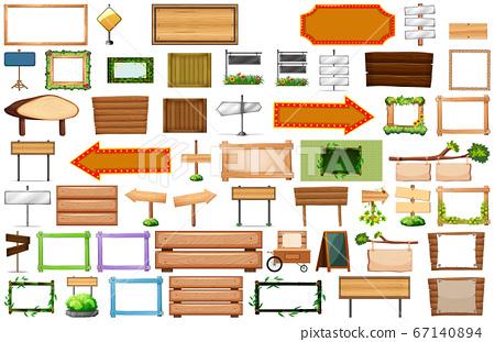 Set of wooden banner sign 67140894