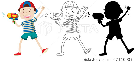 Boy with watering gun in color and outline and 67140903
