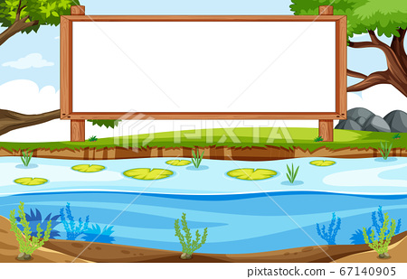 Empty banner board in nature park scenery 67140905