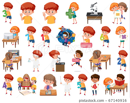 Set of children with education objects isolated 67140916