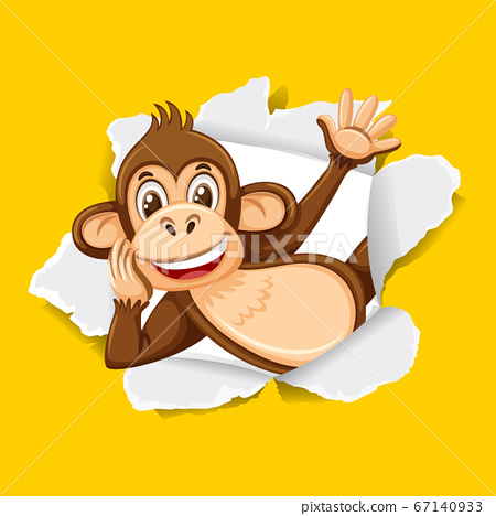 Background template design with wild monkey on 67140933