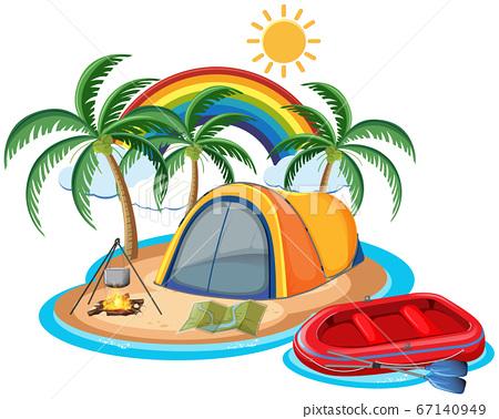 Travel camping summer on island beach theme 67140949