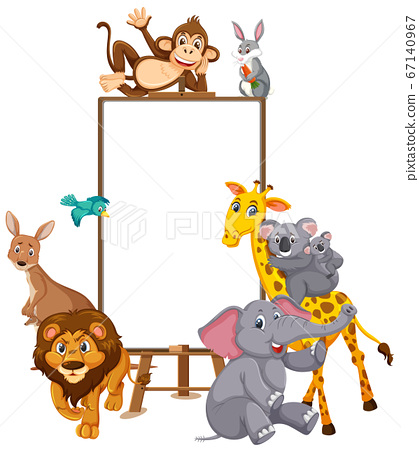 Wild animals cartoon character and blank banner on 67140967