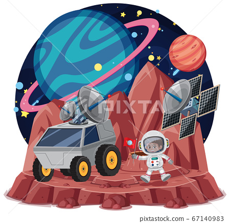 Space theme with astronauts holding flag and 67140983