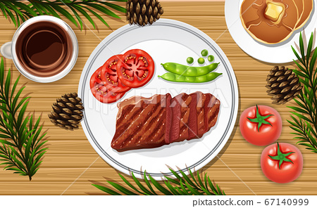 Steak food close up on desk background with some 67140999