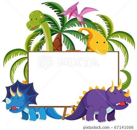 Set of cute dinosaurs with blank banner isolated 67141086