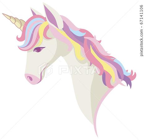 Unicorn head with rainbow mane and horn isolated 67141106