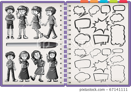 Many kid character and thinking doodle isolated on 67141111