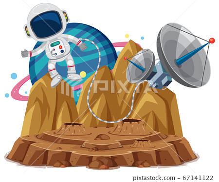 Astronaut floating in the planet cartoon style on 67141122
