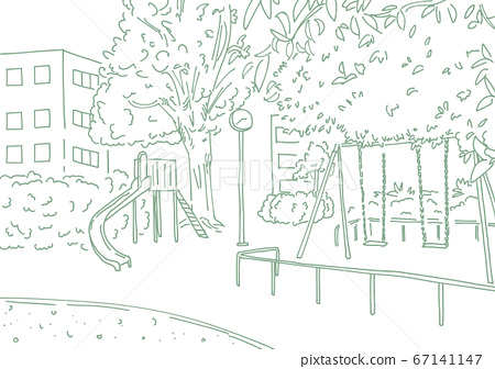 Urban park landscape drawn with simple line drawing No people No shadow 67141147