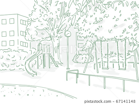 Urban park landscape drawn with a simple line drawing 67141148