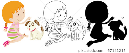 Girl playing with cute dog colour and outline and 67141213