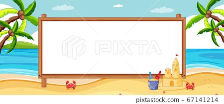 Empty banner board in tropical beach scenery 67141214