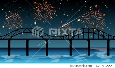 River scene with celebration fireworks 67141222
