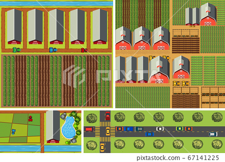 Set of aerial farm and road scene 67141225