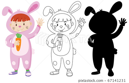 Kids wearing rabbit costume with its outline and 67141231