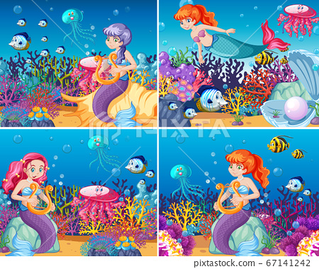 Set of cute mermaid with animal sea theme scene 67141242
