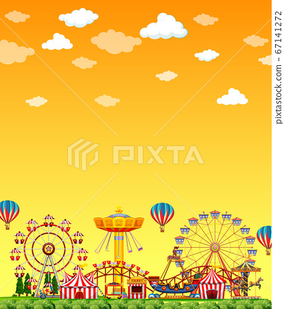 Amusement park scene at daytime with blank yellow 67141272