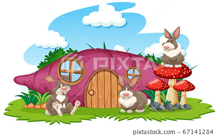 Taro house with three rabbit cartoon style on 67141284