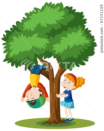 Two kids are climbing the tree cartoon style 67141289