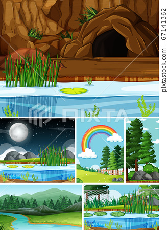 Six different scenes in nature setting cartoon 67141362