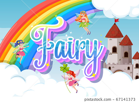 Fairy logo with little fairies on rainbow sky 67141373