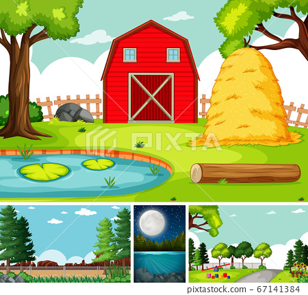 Four different scenes in nature setting cartoon 67141384