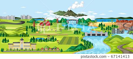Agriculture rural landscape scene 67141413