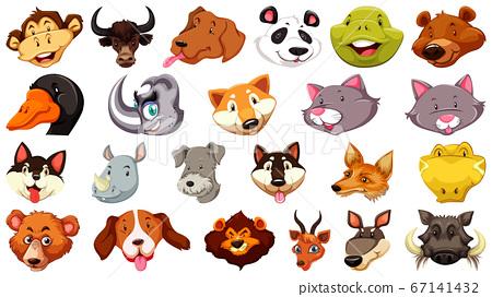 Set of different cute cartoon animals head huge 67141432