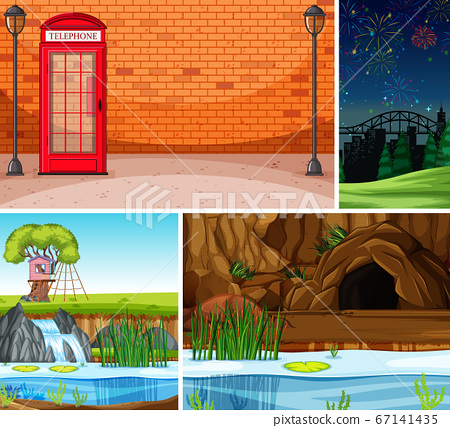 Four different scenes in nature setting cartoon 67141435
