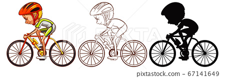 Set of cycling athlete 67141649